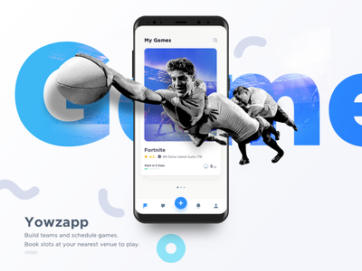 Yowzapp my games dashboard android ios ux ui mobile app sports game freebies invision sketch