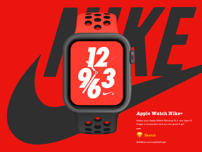 Nike+ free device apple sketch psd freebies nike applewatch