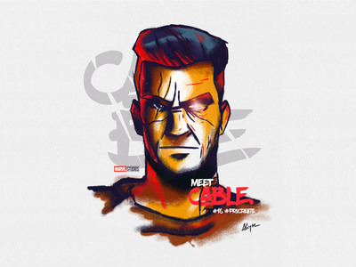 Cable print poster art photoshop applepencil deadpool cable marvel character procreate illustration sketch