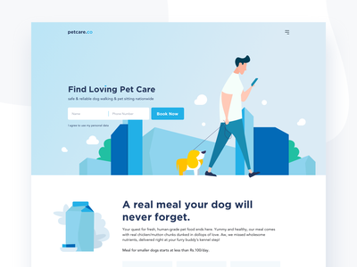 Petcare_ ui 2d modern flat clean vector interface ux minimal sketch pet care pet process website responsive design layout landing page illustration icon home page
