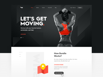 Let's Get Moving modern layout design interface minimal website web icon ui sketch