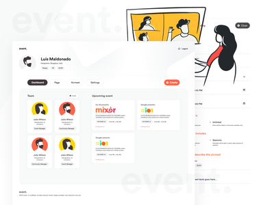 event flat illustration interface website sketch ui web