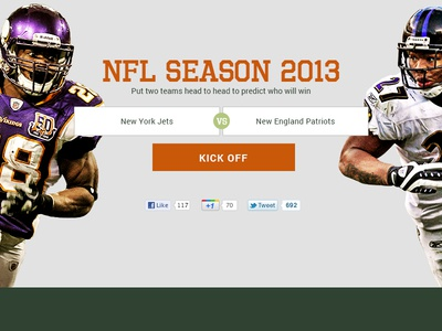 NFL Season Homepage ui home nfl orange green compare button