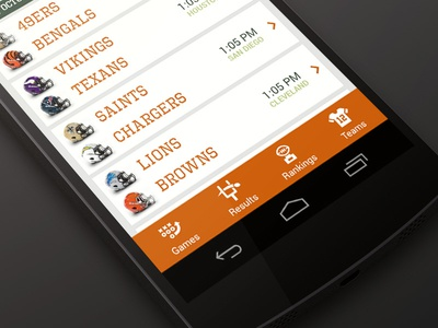 IronRank Android App ui app android app design nfl orange green
