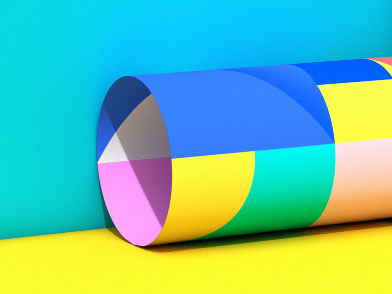 Coloured Paper Roll Render colourful c4d cinem4d colour palette yellow blue colours color paper colour