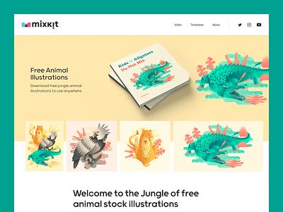 Free jungle stock illustration page design animals illustrated mockup website digital illustrations animals