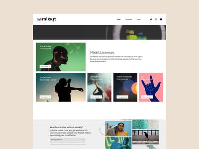 License Page Design for Mixkit ui design deisgn website