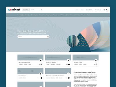 Mixkit - Free sound effects page design blue design ui userinterface sound design website sound music sounds