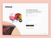 Mixkit upcoming sign up page design
