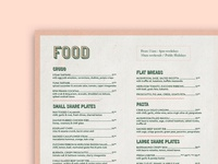 Sneak Peek of a recent menu design