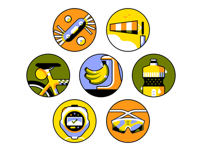 Ready to spin? sport stopwatch sunglasses bike spot illustration icon bananas cycling