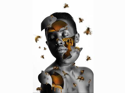 Honey Bee Photo Manipulation sun honeycomb honey design editing photo bnw portrait bees surreal photo manipulation photoshop