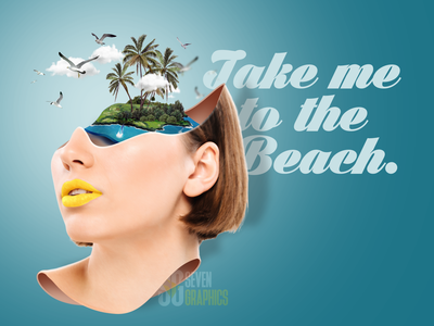 Beach Please catalog design web advertising vector typography photomanipulation editing photoshop
