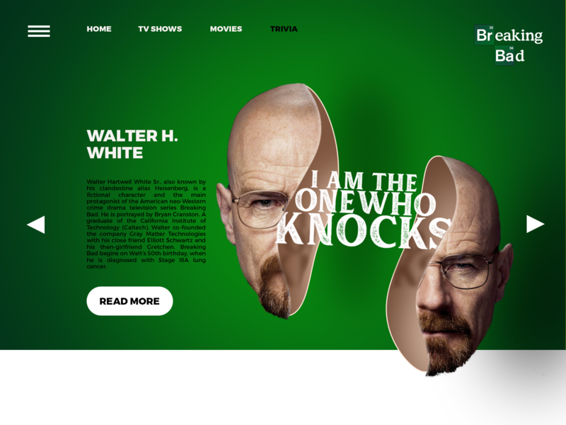 Breaking Bad Website Concept drugs walter white heisenberg website concept popular tv series green breakingbad website design branding typography design editing photoshop