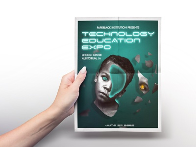 Tech Expo Poster futurism flyer technology future scifi creepy glow neon futuristic poster design poster typography editing photoshop