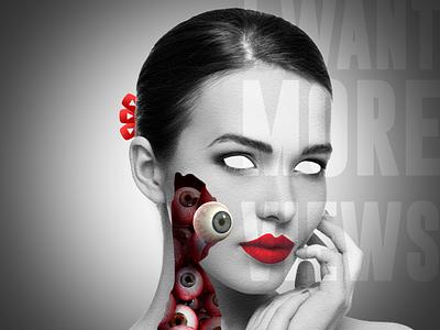 EYES ON YOU illustration advertising creepy web branding design typography editing photoshop