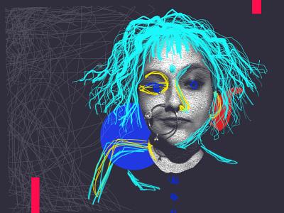 Self Portrait lineart absurdist surreal art surrealism colourful illustraion finearts absurd design vector illustrator editing photoshop