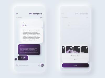 app messenger   [ skeuomorphism 2.0 ]   [ neumorphism ] skeuomorphic ios sketch light experience ux ui software design trendy simple clear soft app design app