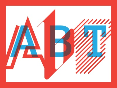 ABT Wall Art typography art red blue primary colors overlay transparent multiply work design lines for fun