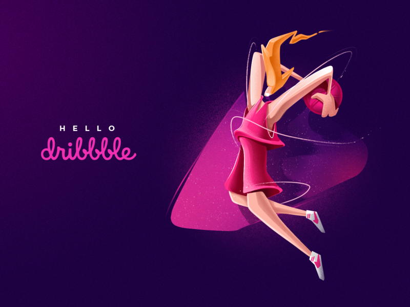Hello Dribbble! hello vivid purple motion active debut dribbble dunk player basket ball basketball colorful illustration
