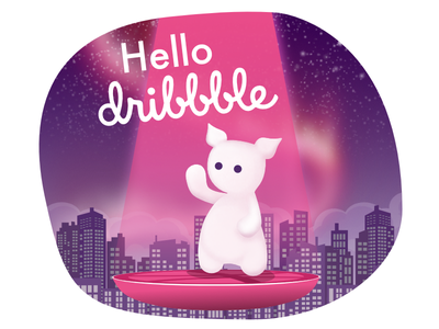 Hello Dribbble! lightbeam stars lights northern city dribbble hello