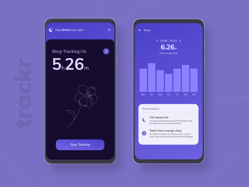 Sleep Tracker Mobile App figma uiux uxdesign uidesign ui mobileapp application mobile minimal