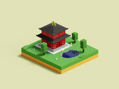 Minimal Home Scene Voxel Art magicavoxel voxeldesign voxelart gamedesign 3d illustration