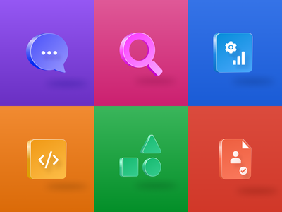 Icons with 3D effect created using Figma figmadesign 3dicon 3d gradient icon design design figma iconset icons