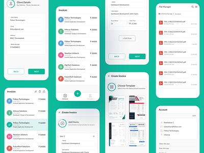 Invoice app UI uxdesign uidesign template invoice template minimal finance mobileapp mobile invoice