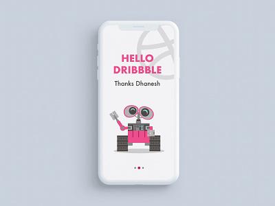 Hello Dribbble flat minimal vector app design ui illustration