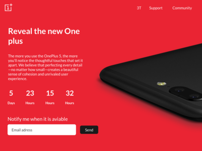 OnePlus 5 landing page concept usability testing product promotion wireframing user journey mockup user interface ux design agency countback oneplus landing page ux ui