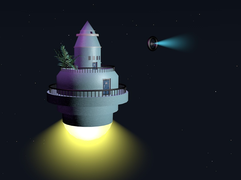 It's time to go away. space illustration travel floating cinema 4d plants lighthouse
