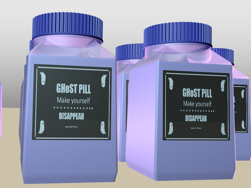 Make yourself Disappear save the Planet. bottle design packagedesign design cinema 4d