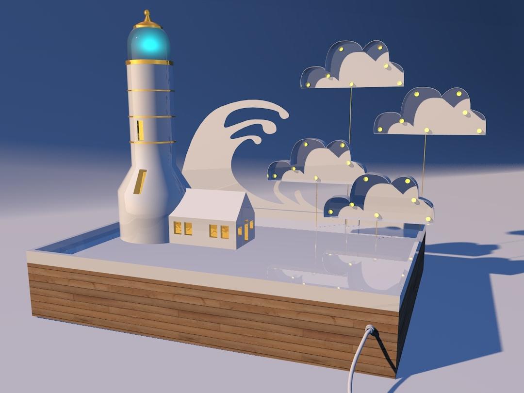 lightHouse illustration design cinema 4d