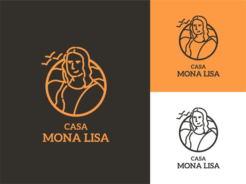 Mona Lisa branding color badge simple logo character flat vector illustration design