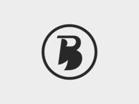 B Icon badge black lettering simple icon logo illustration vector design