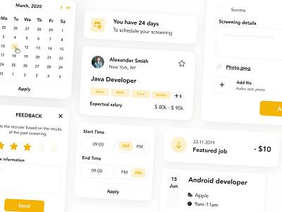 Job-portal / UI Elements feedback time card form calendar yellow job portal hire hr job ui-kit design system ui elements elements ui