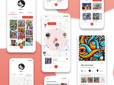 AR - Graffiti social network / profile & map hello dribble first app ux ui design navigation maps profile social network network social app graffiti ar