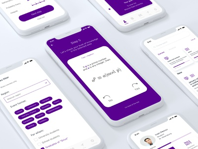 """SIRIUS"" / Education app ios purple knowledge science mathematical algebra hackathon vk hackathon math sirius student test education ux app ui design"