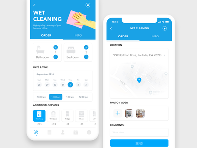 Cleaning service order / Housing company color service app cleaning company home app housing cleaning service order cleaning blue ux app ui design