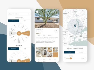 House rent application rental rental app buy buy house booking flat info catalog rent house about page graphic map military pallete color ux ui app design