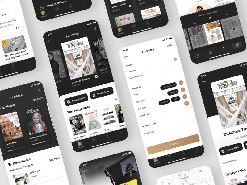 PressReader app design brown app design app bookmarks browse profile dark theme black uiux ui categories catalog filter reader app newspaper news magazine reader
