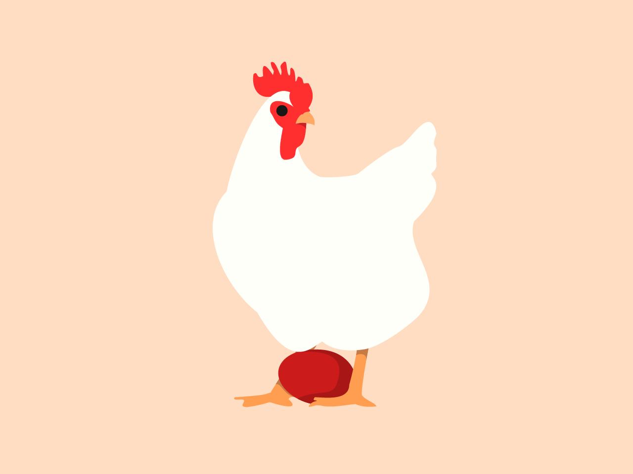 Chicken Surprise birb white red illustration vector bird minimalistic red egg egg easter hen rooster chicken