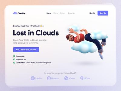 Cloudify - Cloud Storage & Backup Landing Page 3d persian ui persian landingpage landing website web design cloud webdesign uxdesign ux ui uidesign iran