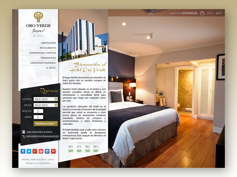 Redesign proposal for Hotel Oro Verde (2013) booking travel redesign hotel website landing page
