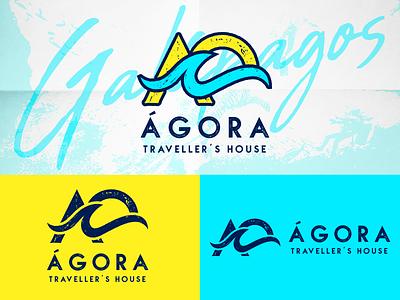 Agora logo color wave symbol beach travel rough branding vector logo