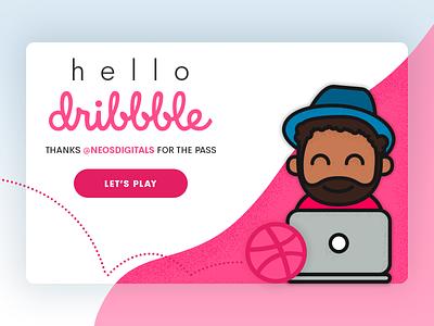 Hello Dribbble character vector dribbble hello