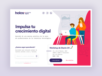 Holos Digital Academy - Landing Page Proposal vector illustration sketch clean design ux courses education visual ui design ui product design landing page
