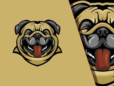 Dog Laughs cartoon pug ai laugh mascot pet vector design logo
