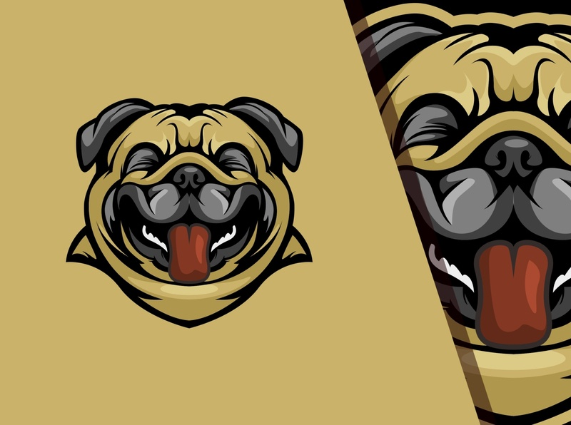 Dog Laughs cartoon pug ai laugh mascot pet vector design logo